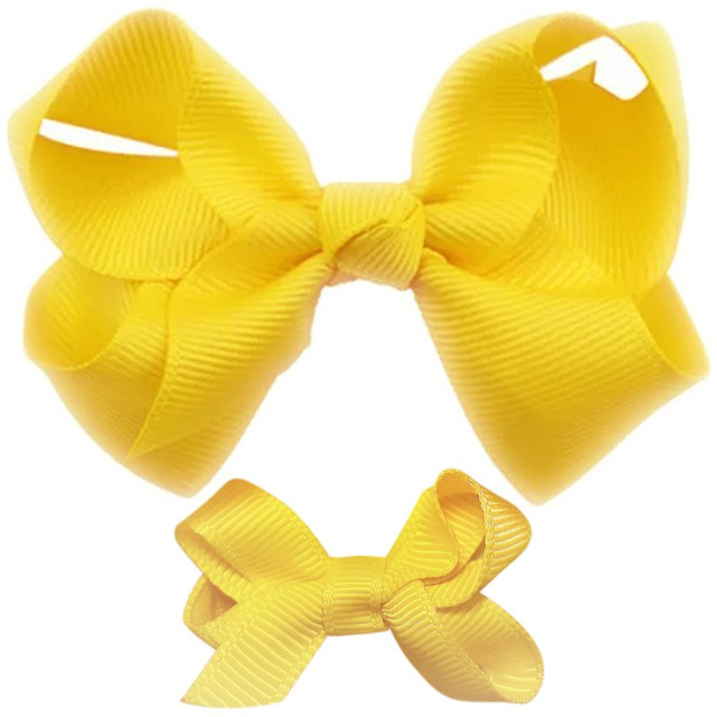 Cutie Bella Bow All Inclusive Handmade Hair Accessories Small and Medium Set 2 Into Hair Clips - Sunny