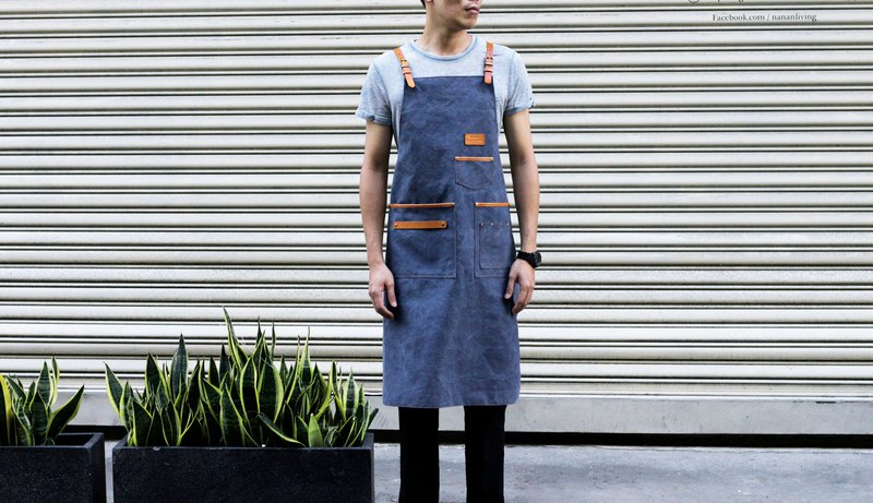 Gray-blue washed cross apron