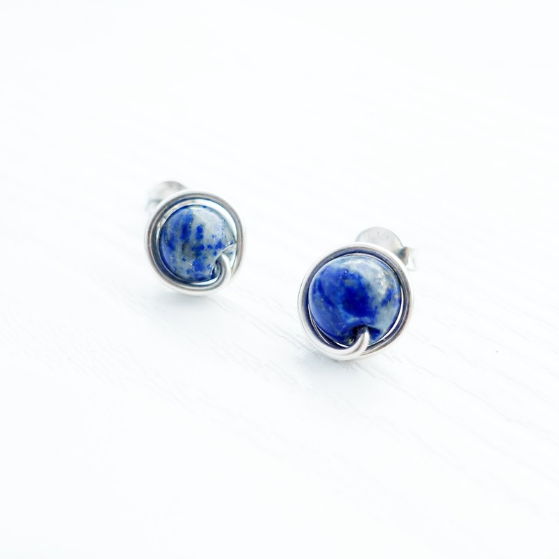 GENIES - Lapis Lazuli Silver Clip on Earrings Piercing Earrings Ear Cuffs