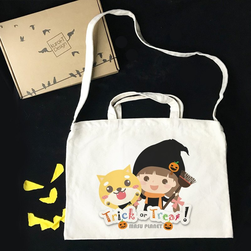 [ Halloween Specials] Illustrator Micky Trick or Treat Creative Wind Horizontal Canvas Bag