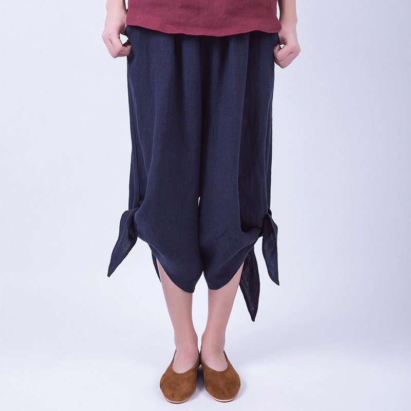 Tibetan blue sand washed linen can be lace pants