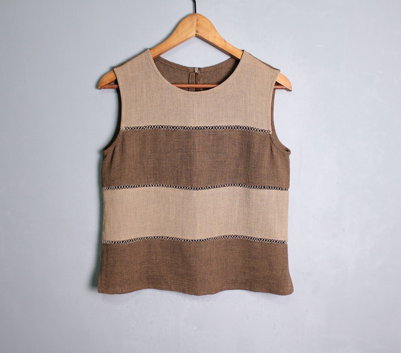 FOAK vintage two-color stitching hollow vest