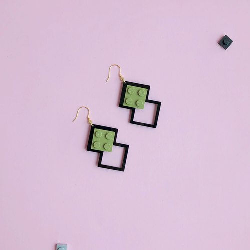 Lego Cutting Silver Earrings -  Black Gray Green