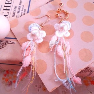 Japanese cotton pearl cute bubble white lace tassel earrings D138 gift forest dream sweet girl heart Valentine's Day gift