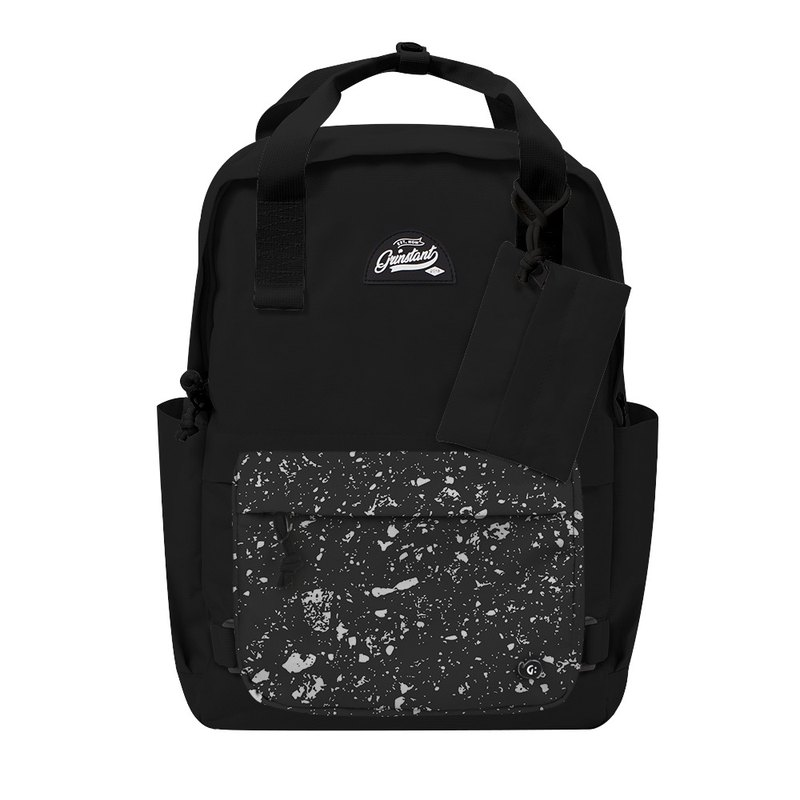 Grinstant mix and match detachable group 15.6 inch backpack-black and white series (black with spray paint)