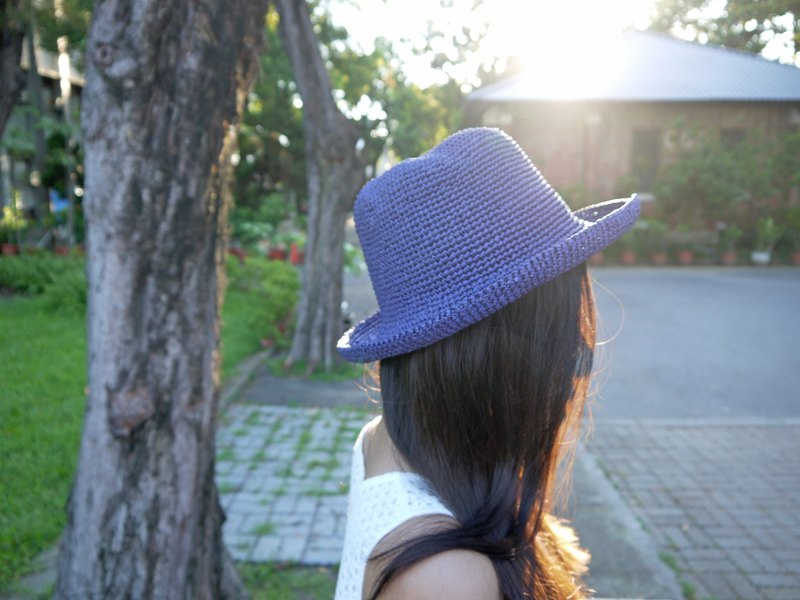 Mama の hand made hat - Summer Rafael straw hat - retro square / hat / violet / picnic / outing / gifts / Mother's Day