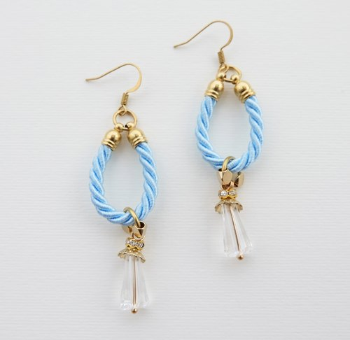 Blue rope hoop with charm earrings