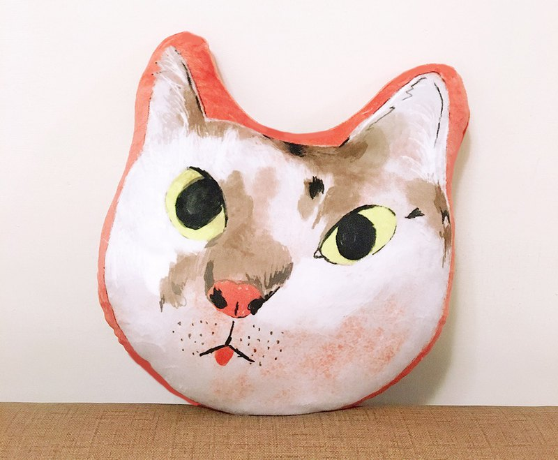 Custom cat dog pillow - small cat - double-sided illustration
