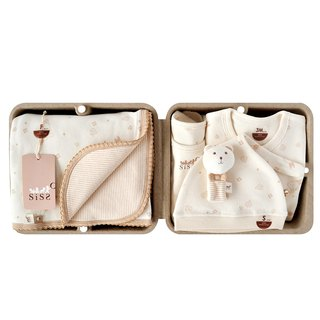 [SISSO Organic Cotton] Small Leaf Fluttering Classic Warm Heart Gift Box (Wrist Bear) 3M 6M