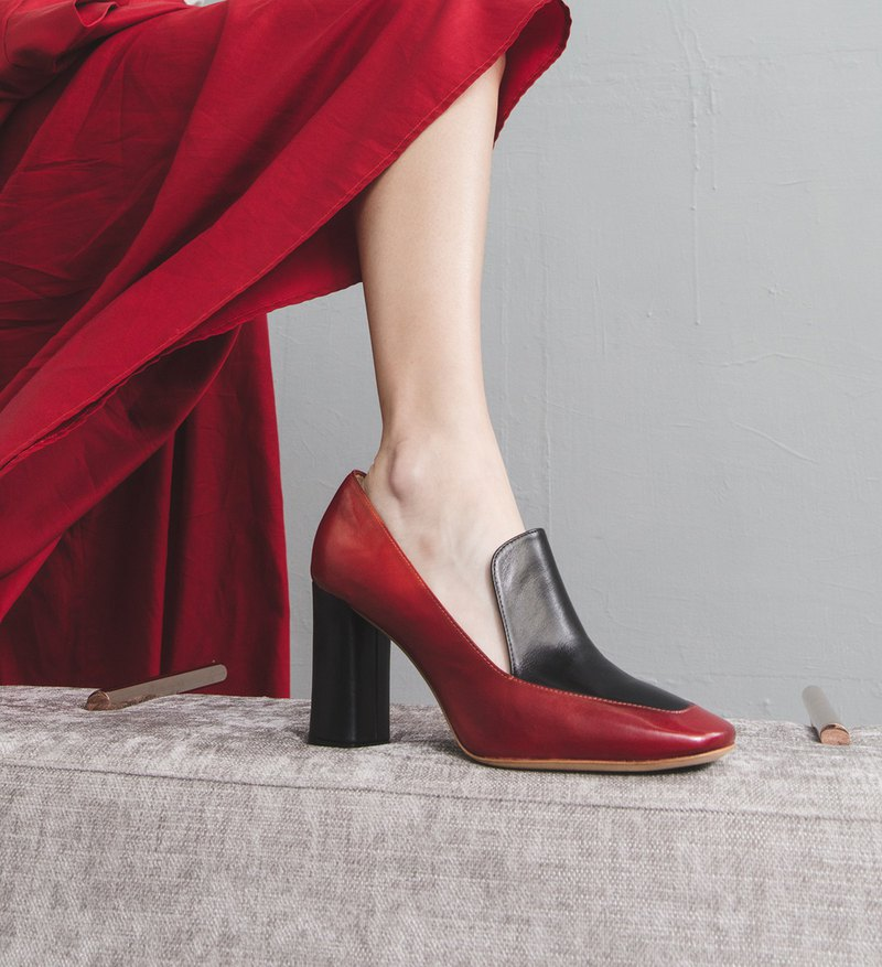 HTHREE 8.5 Loaf High Heels / Chilli Red / 8.5 Loafers Pumps