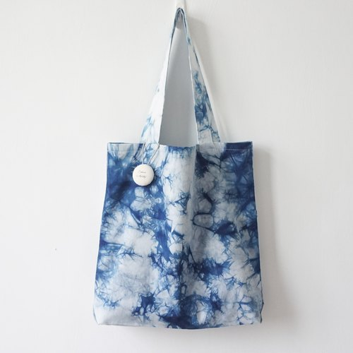S.A x Ink Painting, Indigo dyed Handmade Abstract Pattern Tote Bag (L)