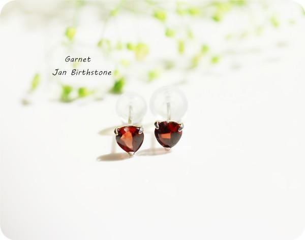K18 gold Heart garnet stud earrings January birthstone