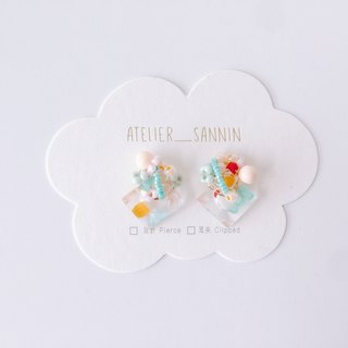 Sweet Planet Series - Bubble Gum Satellite Transparent Bottom Hand-Hand Sewing Handmade Earrings Ear/Aurture
