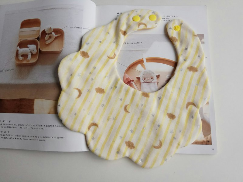 Japanese cotton gauze yellow stars moon cotton yarn cloud bib baby bib saliva towel