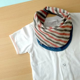 Baby Bib, Reversible Baby Scarf Bib, Handkerchief, Blue Denim Print / Red Grey