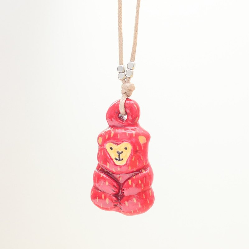 a little lucky red monkey handmade woman fashion necklace from Niyome clay