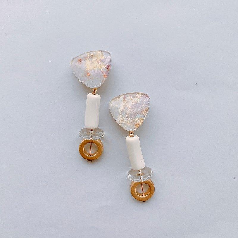 [一種]玻璃耳環大理石藝術法國珠子