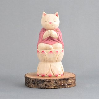 Wood carving cat, Cat to pray sitting in the lotus.021221