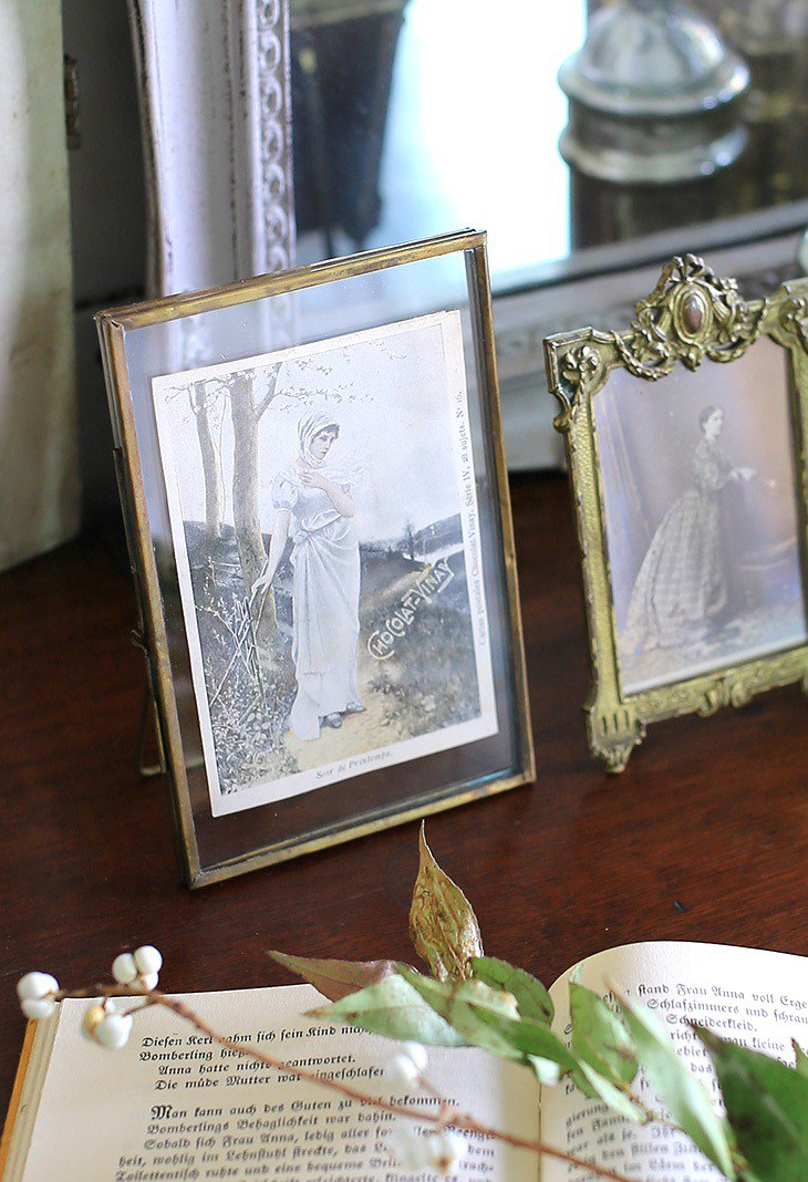 / French elegant lady / vintage gold photo frame