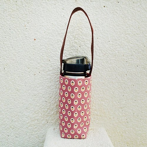 Small floral bottle bag pink purple / beverage bag