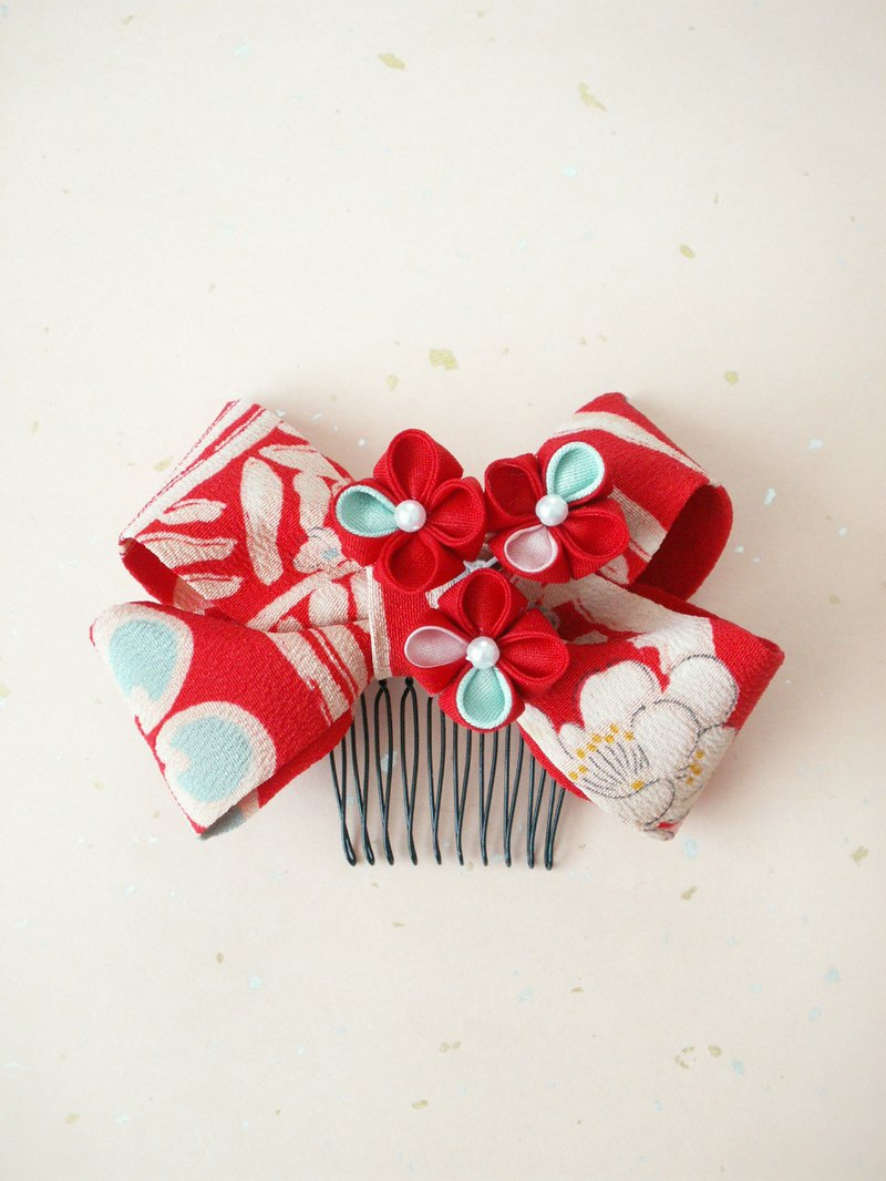 Hair ornaments for resale knob work [Ribbon / Red / Blue] using old cloth