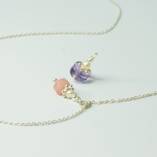Pearl Mini Lucky Stone 2 Pink Opal Amethyst Handmade Sterling Silver Necklace