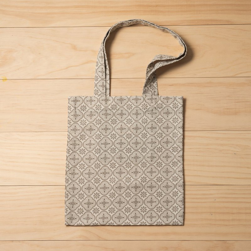 Easy Shopper Bag/Begonia Glass Pattern/Wolf Grey