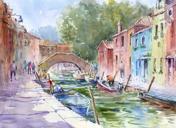 Watercolor painting Burano