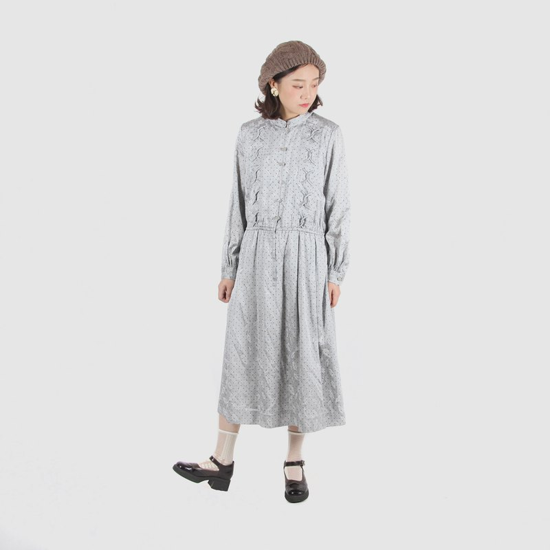 [Egg Plant Vintage] Silver Leaf Satin Long Sleeve Vintage Dress