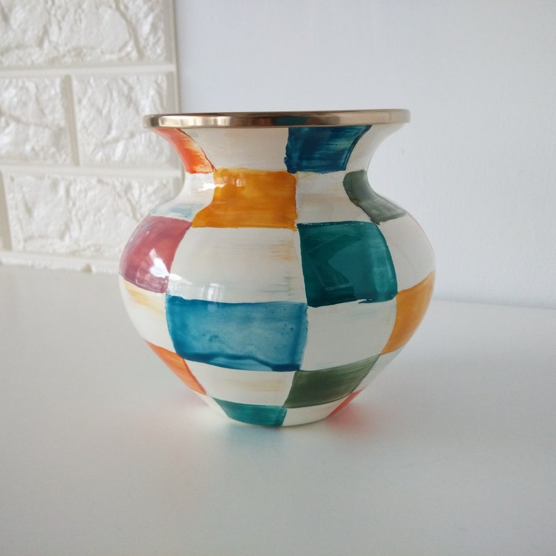 Colorful plaid painted enamel vase