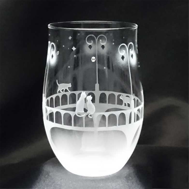 【Under a street light illuminating a bridge】 Tumbler glass of a cat motif vol.2