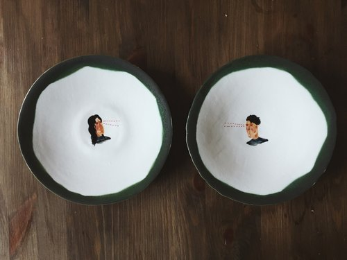 Ray couple pair plate pottery lovers lover