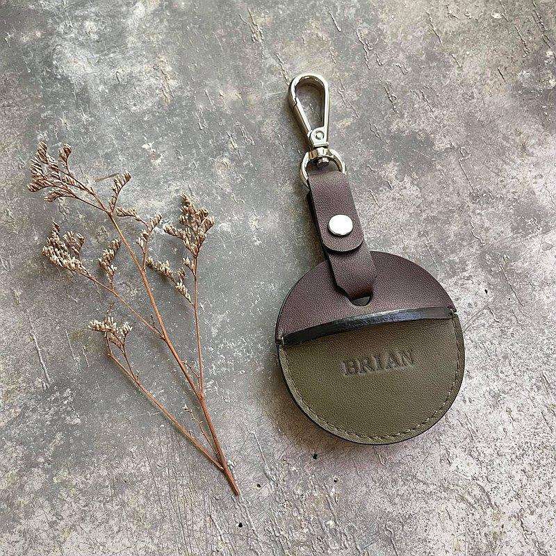 gogoro鑰匙皮套 活動鉤環款 深咖啡+綠色