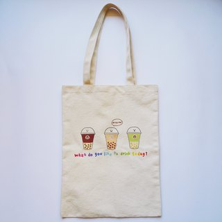 Pearl milk tea canvas bag