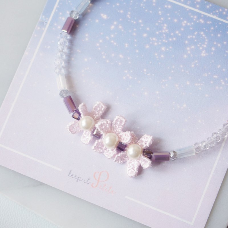 Romantic temperament • Three flowers • Imitation pearl • Purple white bracelet bracelet • Gift 【Ready to clear】