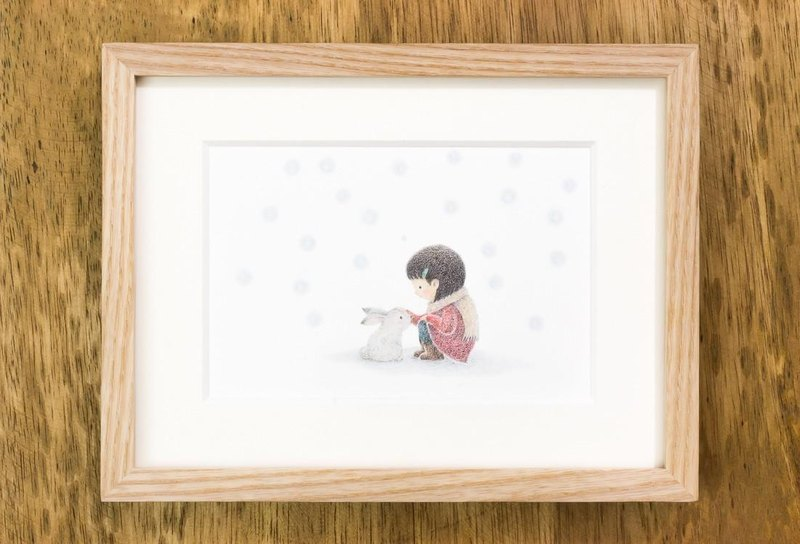 "Illustration original picture book of fragments, ""the girl and the child rabbit"", OI-20, free shipping, sold out"