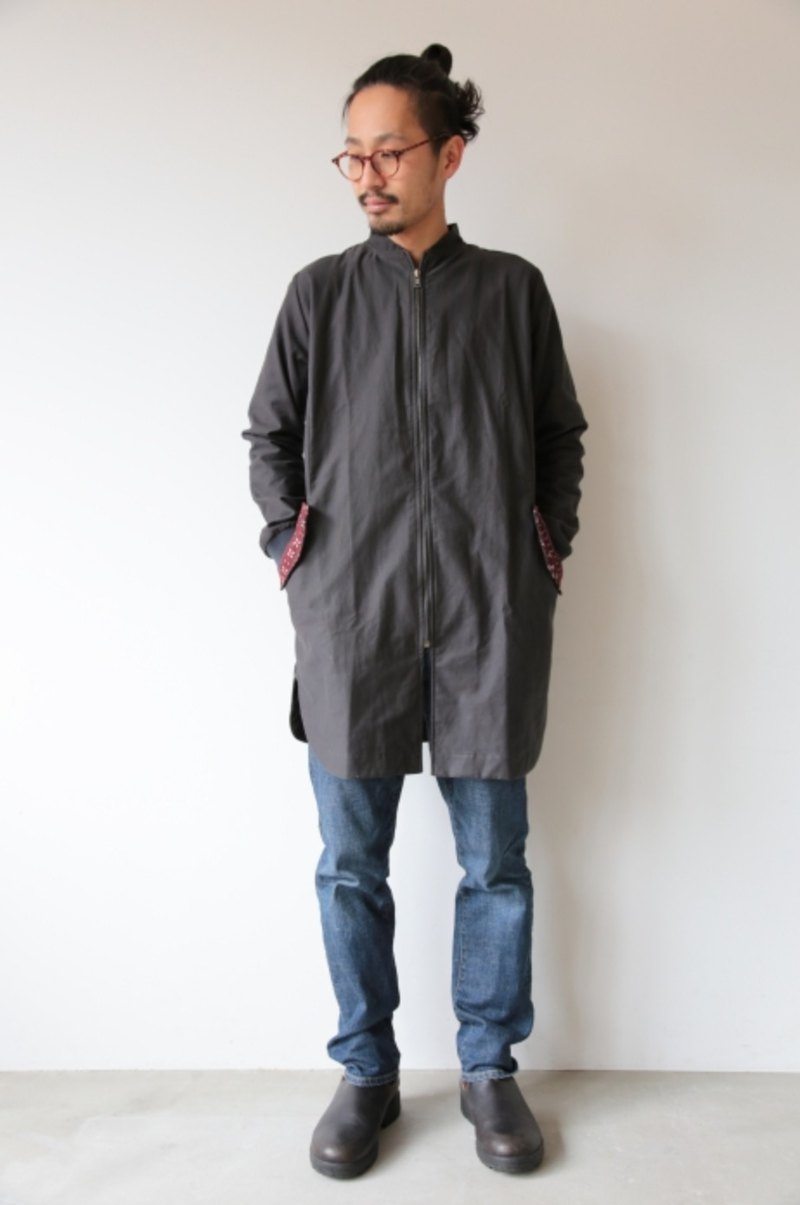 Omake Original / Remake Long jacket / (gray/green )