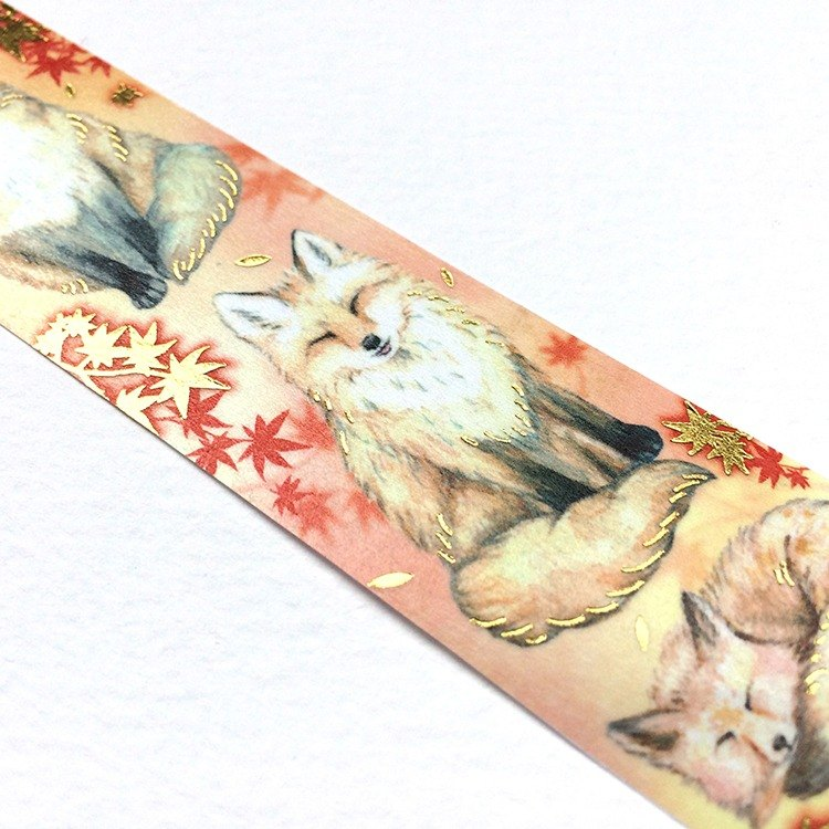 Red leaf and fox foil tape