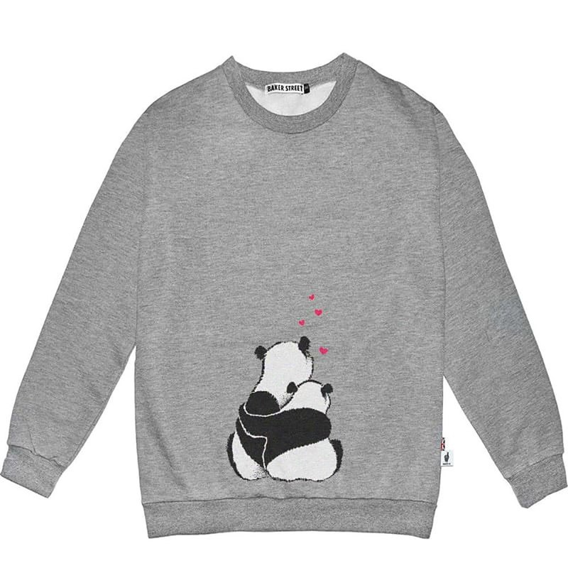 British Fashion Brand -Baker Street- Panda in Love Printed Sweatshirt