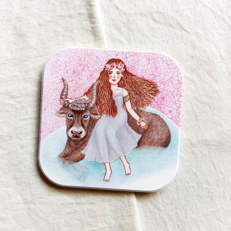 Taurus and Flower Language_Ceramic Coaster