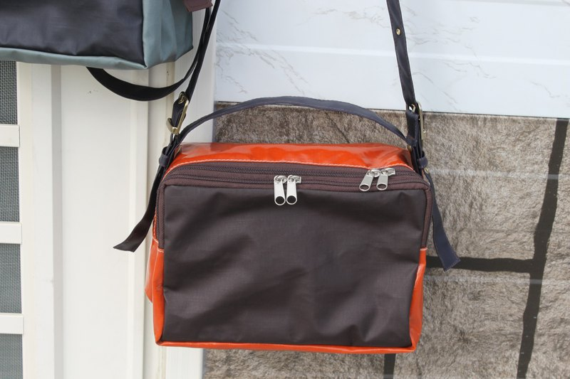 Portable Slanted Shoulder Back Waterproof Lightweight Stitching Square Bag Orang