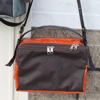 Portable slanted shoulders waterproof lightweight stitching tofu bag orange coff