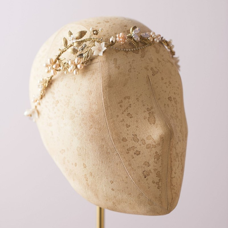 Dancing in the blossom Golden Flower Freshwater Pearl/Wedding Headdress/Bridal Headdress