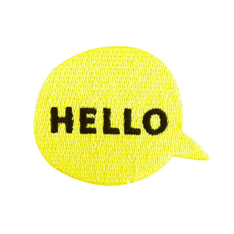 Hello - embroidered patch