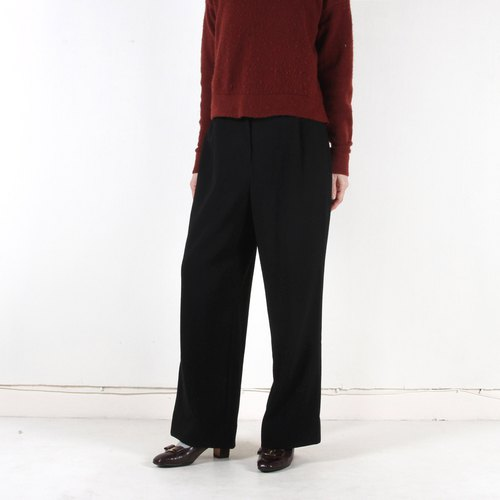 Ancient】 【egg plant dark vintage straight wool trousers