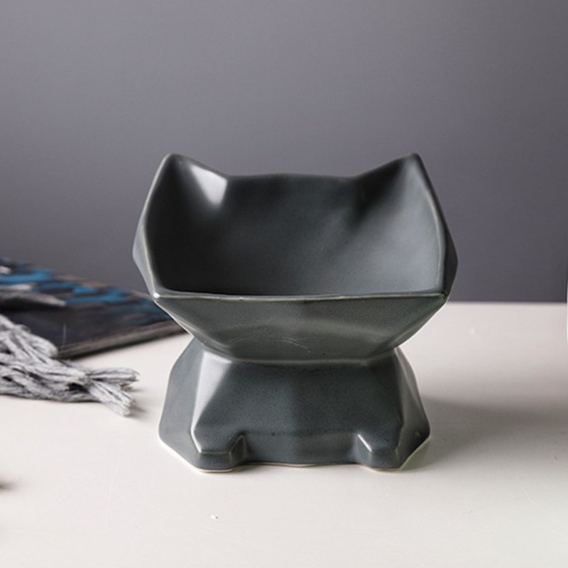 Cat-shaped oblique high foot pet bowl - black