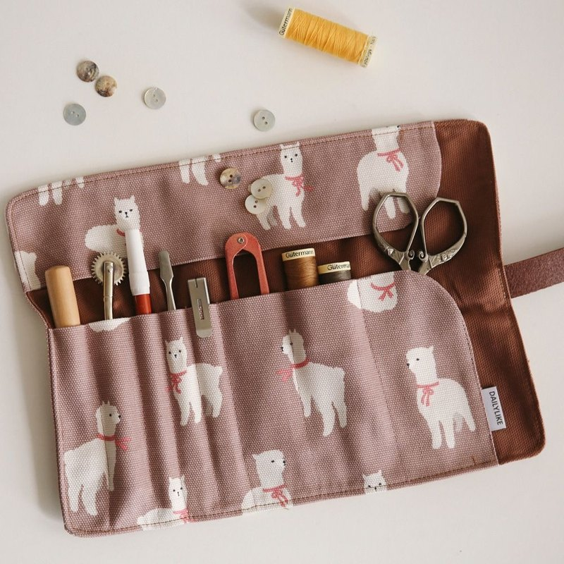 Nordic leather belt buckle universal roll cloth pencil bag - 04 alpaca, E2D48958