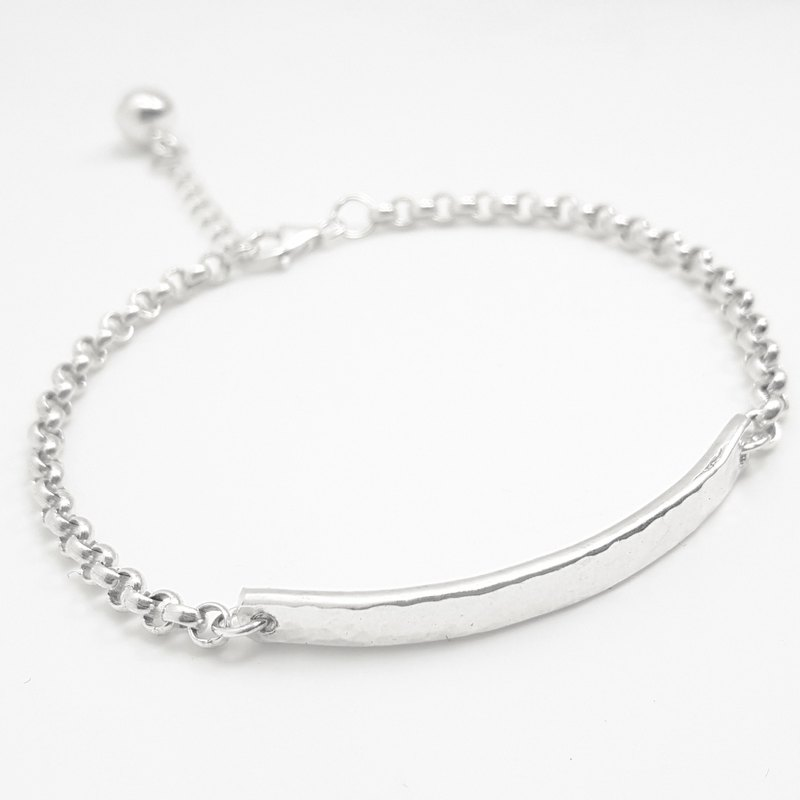 Z14 water ripple (can be typed) 925 sterling silver bracelet. Customized English alphanumeric.