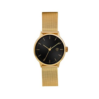 Chpo Brand Sweden - Nando Mini Gold Black Dial - Gold Milan with Adjustable Watch