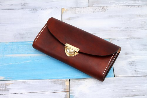 [Cut line] leather handmade organ wallets / large capacity ladies retro long folder 006 buckle hand hand-dyed chocolate color